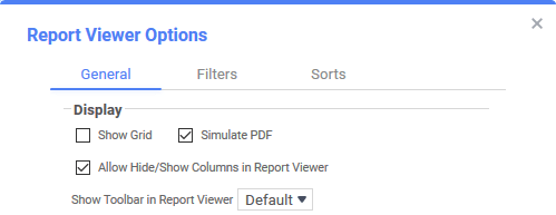 General Report Viewer options