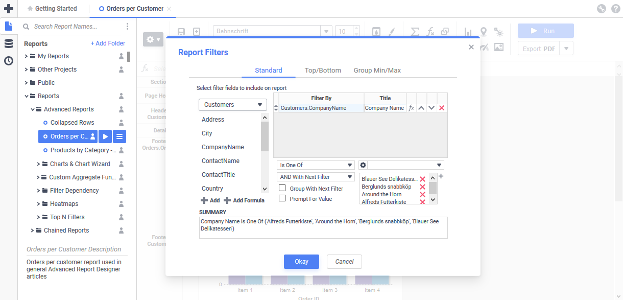 The Filters dialog of the Advanced Report Designer in the Basic blue theme